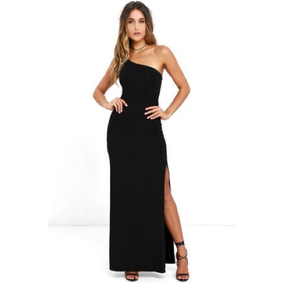 ff8e90f97a56 Lulu's Dresses & Skirts - LULUS Face To Face Black One Shoulder Maxi ...